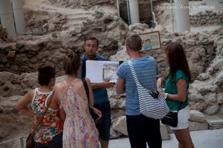 Trails of History and Wine: Ancient Akrotiri and Santorini Wineries Tour